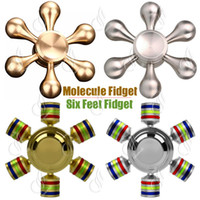 Wholesale Top Hexagon Molecule Fidget Spinner Hand Spinners Pure Brass Aluminum Alloy CNC Six Angle Finger tips Heads Hands Detachable Novelty Retai
