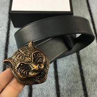 Wholesale Top Novelty Gifts - Top quality 38mm Belt Brand Leather Alloy Tiger Buckle Belt For Men Women With Gift Package