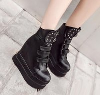 Wholesale Womens Wedge Heel Motorcycle Boots - Fashion high heel platform wedge rivets shoes for womens black PU leather ankle boots 2018