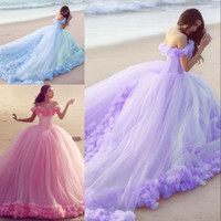 Ball Gown Wedding Dress for sale - Colorful Ball Gown Style Beach Wedding Dresses Off the Shoulder Handmade Flowers Corset Lace up Back Pink Light Purple Blue Peach Bride Gown