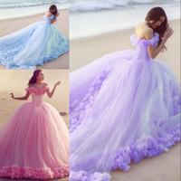 vestido espartilho roxo claro venda por atacado-Colorido vestido de baile estilo praia vestidos de noiva fora do ombro handmade espartilho lace up voltar rosa luz roxo azul pêssego vestido de noiva