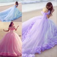 vestido de novia azul claro morado al por mayor-Vestidos de novia coloridos del estilo del vestido de bola Vestidos de novia del hombro del corsé hecho a mano de las flores Cordón detrás Back Pink Light Purple Vestido azul de la melocotón de la novia