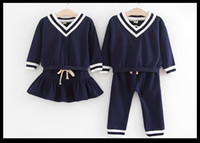 Wholesale Navy Striped Long Sleeve Dress - Children outfits unisex stripe V-neck long sleeve navy style sweater+stripe pleated dress pants 2pcs sets kids preppy style clothes C0392