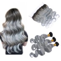 Wholesale Two Color Frontal Closure - Silver Grey Ombre Virgin Hair With Frontal Two Tone 1B Grey Dark Root Ombre Mink Brazilian Body Wave Lace Frontal Closure With Bundles