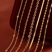 Wholesale box chain gold fine resale online - New European and American18inch cm Lady Necklace Box Chain Fine Chain Wedding Copper k Gold plated Necklace
