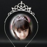 Wholesale Hair Band Diamond Pearls - Infant Crown Headband Baby Girls Princess Crystal Pearl Crown Diamond Hairband Women Headwear Kid Hair Band Accessories
