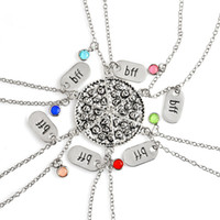 Wholesale pizza necklace - BFF Best Friend Forever Crystal Pizza Pendant Necklaces Ancient Silver Best Friend Best Bitch Necklace for Women Jewelry Drop Shipping