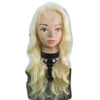 frontlinie haar perücke großhandel-Lange gewellte blonde menschliche Perücken Glueless volle Spitze-menschliche Perücke Unverarbeitete brasilianische Jungfrau-Haar glueless vordere Spitzeperücke mit natürlicher Haar-Linie