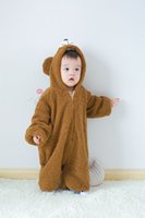 Wholesale Hooded Bear Jumpsuit - Baby Bear Romper Jumpsuits Beige and Brown Baby & Kids Clothing Loungewear Nightwear Autumn Winter Hooded Solid Jumpsuits