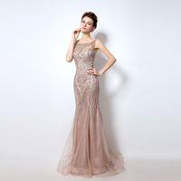 dubai sexy frau kleid bild großhandel-Echt Bild Dubai Rode De Soiree Illusion Lange Abendkleider 2019 Neue Luxus Kristall Perlen Meerjungfrau Abendkleid Real Photo für Frauen LX029