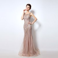 Wholesale Cocktail Long Dress For Bridesmaid - Real Image Dubai Rode De Soiree Illusion Long Evening Dresses 2017 New Luxury Crystal Beaded Mermaid Prom Dress Real Photo for Women LX029