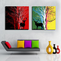 Wholesale Pine Panel - Fuee Shipping Silhouette of Deer with Pine Forest Canvas decorative Painting two Panels attractive room decoration