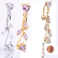Wholesale Navel Rings Body Piercing - Luxury Cubic Zirconia Women Drop Belly Button K Gold Plated Fashion Body Jewelry Sexy Navel Rings Body Piercing Jewelry