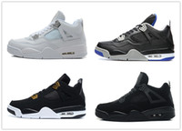 Wholesale clear military - 4s Classic 4 black cat pure money royalty alternate motorsport Bred white cement bred military blue men women Sports trainer shoes