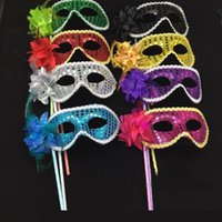 Wholesale Plastic Mask Side Flower - Masquerade Party plastic Masks On stick with cloth lace and side Flower masks for Masquerade Ball Black White colorful party Masks h307