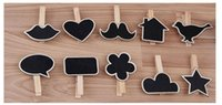 Wholesale Heart Shaped Photo Clips - Wholesale-So Cheaop 6pcs lot various shape heart Wooden Pegs Photo Clips Name Place Card Holders Wedding table Settings wedding decoration