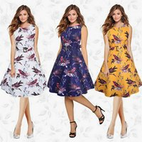 Kleider der neuen Ankunfts-Frauen Sleeveless druckt knielangen Weinlese-Frühlings-Sommer-Dame Clothes Fashion Casual Dress Party Evening Dresses