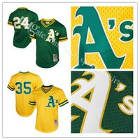 Oakland Athletics Rickey Henderson Mitchell Ness Green Yellow 1991 Cooperstown Mesh Batting Practice Jersey Maillots de baseball de broderie
