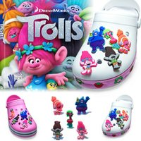 Wholesale Cartoon Ornaments - 5Pcs lot Trolls PVC Cartoon Shoe Charms Ornaments Buckles Fit for Shoes & Bracelets ,Charm Decoration,Shoe Accessories