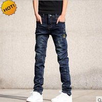 Wholesale Jeans Patch Boy - Wholesale-Wholesale Teenagers Jeans Skinny Embroidered patch Hole Ripped Pencil Pants Distressed Boys Stretch Hip Hop Bottoms Men 28-36