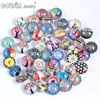 Wholesale Multi Colors Bracelet - Wholesale- 50pcs Lot Mixed Colors & Pattern Multi 18mm Glass snap button Jewelry Faceted glass Snaps Fit snap Bracelet ginger snap jewelry