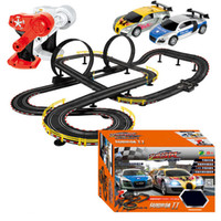 Wholesale Toy Cars For Electric Track - Wholesale- Hot Selling Cool 2pc RC Cars With Slot Track Assemble Toy Electric Flash Racing Car For Boys Gift