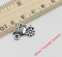Wholesale Tractor Charms - Wholesale-20pcs Antique Silver Plated Zinc Alloy Tractor Charms Pendants for Jewelry Making DIY Handmade Craft 15x19mm D102