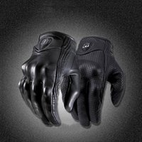 Wholesale Motorcycles Winter Gloves - Moto Racing Gloves Leather motorcycle gloves cycling Perforated Leather Motorcycle Gloves black color M L XL size