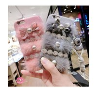 Wholesale Pearl Bow Phone Cases - Creative Phone Case Mink Pearl Bow-knot Silicone Soft Cover for Iphone6s  6 6p 6sp  7 7p