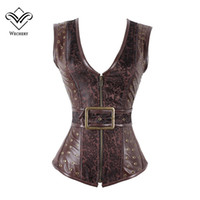Wholesale Sexy Pu Clothing - Brown Steampunk Corset Gothic Clothing Sexy Jacquard PU leather Steel Boned Zip Buckle Corsets And Bustiers