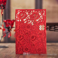 Wholesale Chinese Wedding Red Envelopes - 2017 New Invitation Cards Wedding Favors Laser Cut Red Flora Free Personlized Print With Envelopes and Seals CW6076