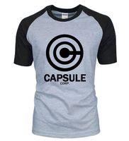 Wholesale Men Raglan Shirts - New Arrival Anime DRAGON BALL Z men t shirt 2016 summer 100% cotton CAPSULE CORP. letters raglan men t-shirt for fans S-2XL
