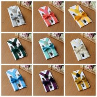 Wholesale Cheap Wholesale Suspenders - DHL-Kids Suspenders Bow Tie Set for 1-10T Baby Braces Elastic Y-back Boys Girls Suspenders accessories cheap