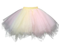 Желтые розовые женщины 1950-х годов Vintage Petticoats Crinolines Bubble Tutu Dance Half Slip Skirt A-Line Short Rainbow Adult Teen Junior Ladies Dress