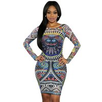 Wholesale Tattoos Sexy Woman - Wholesale- Sexy Club Dress 2016 Summer Women O-Neck Long Sleeve Mini Bodycon Bandage Dress Tattoo Print Sheer Dress Plus Size Clothing