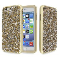 Luxe Luxe Cristal Cristal Cristal Avec Or Étincelle Glitter Hard Protective Diamond Phone Case Cover Pour iPhone6 ​​6s 6Plus 7 7s
