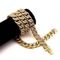 Wholesale heavy gold jewelry - Heavy 24K Solid Gold Plated MIAMI CUBAN LINK Exaggerated Shiny Full Rhinestone Necklace Hip Hop Bling Jewelry Hipster Men Curb Chain