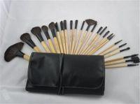Wholesale Set Brushed 24 Pcs - New Professional 24 PCS Makeup Brush Set Make-up Toiletry Kit Wool Brand Make Up Brush Set Case Free DHL
