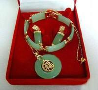 Wholesale Jade Purple Circle Pendant - free shipping >>>>>NATURAL GREEN JADE JADEITE CIRCLE DONUT PENDANT SET