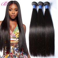 28 parça saç örgüsü toptan satış-BD İpeksi Düz İnsan Saç Uzantıları Perulu İnsan Saç Dokuma 3/4 Parça Düz Saç