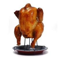 qualität bbq werkzeuge großhandel-Hohe Qualität Non-Stick Chicken Roaster Rack mit Disc BBQ Tools Grill Grillen Backen Kochtöpfe für Thanksgiving Weihnachten