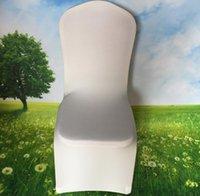 universelle weiße spandex hochzeit stuhl deckt großhandel-Display Universal Weiß Spandex Hochzeitsfest Stuhlhussen Weiß Spandex Lycra Stuhlhussen für Hochzeitsfest Bankett Viele Farben
