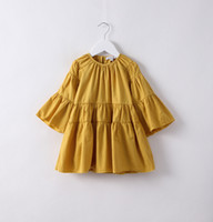 Wholesale Brown Ruffle Blouse - Everweekend New Girls Ruffles Cotton Tees Bell Sleeve Candy Color Princess Spring Party Tops Blouse