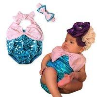 Wholesale Mermaid Suspenders - Baby Girls mermaid swimwear 2017 new children bow suspender Siamese swimwear+headband 2pcs kids one-piece girls beach spa swimsuit 7471