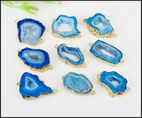 fatia de ouro venda por atacado-5 pcs Druzy Geode Ágata Fatia Conectores, Gold Plated Edge Geode Pingente ágata na Cor azul, para Fazer Jóias