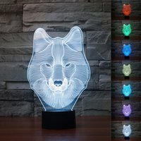 Wholesale Order Led Decor - 2pc 2017 New 3D Animal Wolf Decor Night Light Touch Button Colors Change LEDTable Lamp Gift Mix Order