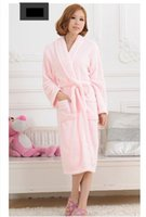 Wholesale Fleece Bathrobes Women - Wholesale-Unisex Women&Men Coral Fleece Loose Long Sleepwear Robes Bathrobe Spa #8 Colors
