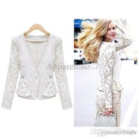 Wholesale Lace Shrug Ladies - Wholesale-2015 New Women Lace Shrugs Ladies Formal Slim OL Formal Coat Jacket Blazer Suit Top Outwear Black White B16 SV007037
