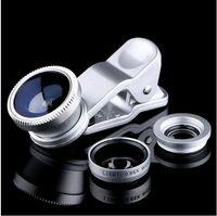 Wholesale Clip Eye Glasses - Universal Clip 3 in 1 Fish Eye Lens Wide Angle Macro Mobile Phone Camera Glass Lens Fisheye For iPhone 7 Samsung S7 edge