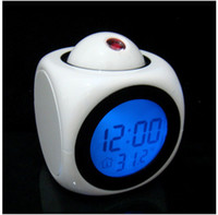 Wholesale Quartz Chime Clock - A new multifunctional projection chimes LED colorful projection alarm clock Voice projection clock chimes